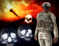 Soldier Of War. Solider with a background of a missile and skulls Royalty Free Stock Photos