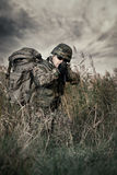 Soldier at war in the swamp stock image