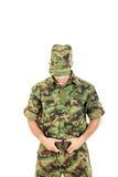 Soldier warrior in military camouflage uniform fastened belt Royalty Free Stock Photography