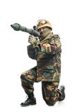 Soldier with a weapon Stock Images