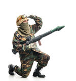 Soldier with a weapon Stock Photos