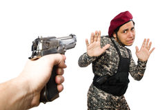 Soldier with a weapon isolated on white Royalty Free Stock Photography