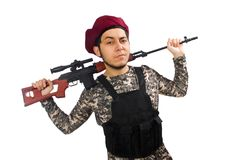 Soldier with a weapon isolated on white Stock Photo