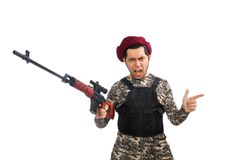 Soldier with a weapon isolated on white Stock Photos