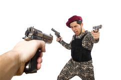 Soldier with a weapon isolated on white Royalty Free Stock Photos