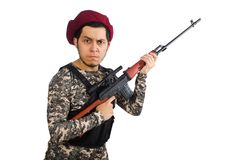 Soldier with a weapon isolated on the white Stock Images