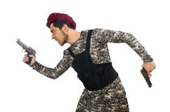 Soldier with a weapon isolated on the white Royalty Free Stock Photos