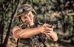 Soldier with weapon Royalty Free Stock Photos