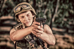Soldier with weapon Royalty Free Stock Image
