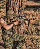 Soldier with weapon Stock Photography
