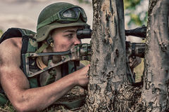 Soldier with weapon Stock Images