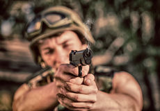 Soldier with weapon Stock Image