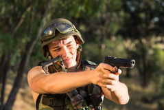 Soldier with weapon Royalty Free Stock Photography