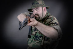 Soldier. Is a soldier wearing his uniform and gun stock photos