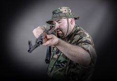 Soldier. Is a soldier wearing his uniform and gun Stock Photo