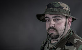 Soldier. Is a soldier wearing his uniform and gun Stock Photography