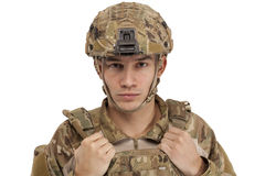 Soldier wearing protective workwear Stock Photo