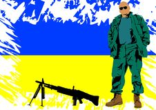 Soldier whit Ukrainian flag Stock Photography