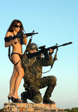 Soldier and woman stock photos