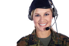 Soldier woman with headset Royalty Free Stock Photo
