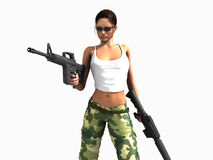 Soldier woman holding guns Royalty Free Stock Photography