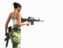 Soldier woman holding guns Royalty Free Stock Images
