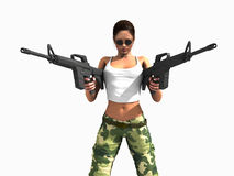 Soldier woman holding guns Stock Images