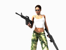 Soldier woman holding guns Stock Image