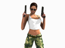 Soldier woman holding guns Royalty Free Stock Image