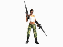 Soldier woman holding guns Stock Photos