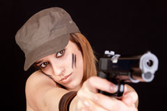 Soldier woman painted in khaki colors Stock Photography