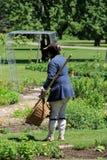 Soldier working in garrison gardens,King's Garden,Fort Ticonderoga,New York,2015 Stock Images