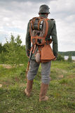 Soldier on WW1. Reconsutrction. Back of Soldier on WW1. Reconstruction stock image