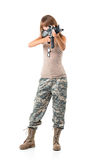 Soldier young beautiful girl dressed in a camouflage with a gun Royalty Free Stock Photo