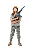 Soldier young beautiful girl dressed in a camouflage with a gun Stock Photography