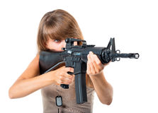 Free Soldier Young Beautiful Girl Dressed In A Camouflage With A Gun Royalty Free Stock Photo - 35666215