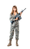 Soldier young beautyful girl dressed in a camouflage with a gun Stock Photos