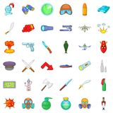 Soldierly icons set, cartoon style. Soldierly icons set. Cartoon set of 36 soldierly vector icons for web isolated on white background Royalty Free Stock Image