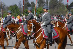 Soldiers. Escort of mounted soldiers in military parade in chile Stock Photography