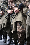 Soldiers. Marching on street during parade Royalty Free Stock Image