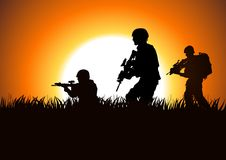 Soldiers. Silhouette illustration of soldiers on the field Stock Photo