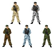 Soldiers. The soldier holding a rifle. Highly detailed image Stock Photography