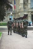 Soldiers. Few soldiers in a row, Strasbourg royalty free stock images