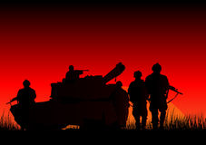 Soldiers. Vector illustration of soldiers and a tank Royalty Free Stock Images