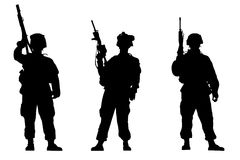 Soldiers. Black silhouettes of the soldiers on white background Stock Image