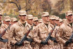 Soldiers. Editorial photo: Czech army forces. Troops review in Prague, Czech Republic. 28th October 2008 Royalty Free Stock Photos