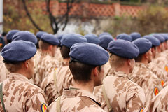 Soldiers. Editorial photo: Back view of many soldiers in camouflage desert uniforms wearing berets. Troops review in Prague, Czech Republic. 28th October 2008 Stock Image