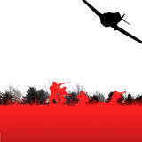 Soldiers. Abstract silhouette of soldiers and airplane Stock Images