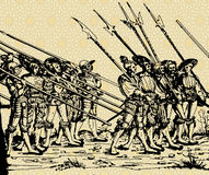 Soldiers. Medieval vector picture with march of soldiers, ink drawing Stock Images