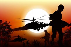 Soldiers in Action. Marine Soldiers and Helicopters. Sunset Silhouette Background Illustration Royalty Free Stock Image
